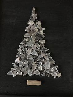 ORIGINAL White Beach Sea Glass Tree, Framed #seaglassart #fakeseaglass