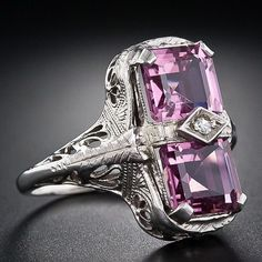 Pink Tourmaline Art Deco Ring, circa 1930. Lang Antiques.