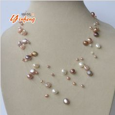 [MeiBaPJ] very Beautiful natural freshwater pearl Multi layer white gold and colar necklace for the public to wear jewelry