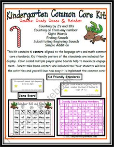 Candy Canes and Reindeer Common Core Center Games product from Can-You-Read-It on TeachersNotebook.com