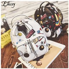 Check lastest price 2017 Fashion Cool Contrast Color Printing Backpack Women Casual Design Graffiti School Bags Female PU Leather Graffiti Backpacks just only $21.47 with free shipping worldwide  #womanbackpacks Plese click on picture to see our special price for you