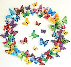 Amaonm:registered: 60pcs 5 Packages 5 Colors 3d Butterfly Wall Stickers Murals Removable DIY Butterflies Wall Decals Wall Art Decor for Kids Babys Boys and Girls Bedroom Living Room Office Classroom Playroom
