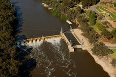 Aerial view of Lock 15 at Euston Weir on the Murray River