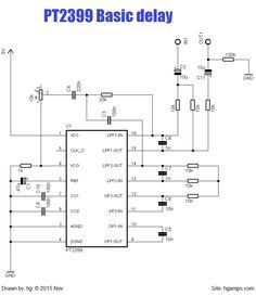 Easy pt2399 circuit. Basic guitar delay effect circuit. DIY guitar pedal version.