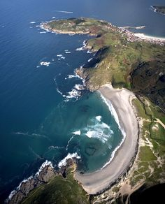 Laxe top right Beautiful Places In Spain, Celtic Nations, Travel Around The World, Around The Worlds, Spain Holidays, Spain And Portugal, Spain Travel, Aerial View, Beach Trip