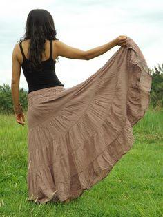 Boho Skirt ..Long Skirt ....Full Length Skirt .. Color Dark Peach ....Soft and Floaty on Etsy, $35.00