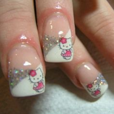 Hello Kitty nail art look stunning, appealing and look super cool on your nails. Here are our 9 best and Easy Hello Kitty Nail Art Designs With Images which will definitely impress you. Fancy Nails, Love Nails, How To Do Nails, Sparkly Nails, Glitter Nails, Pretty Nail Art, Cool Nail Art, Nail Art Designs, Hello Kitty Nails