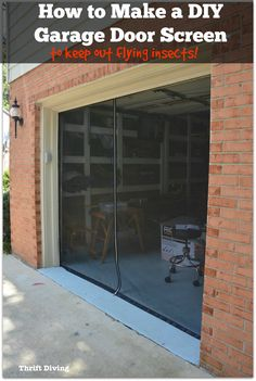How to Make a Garage Door Screen - keep out flying insects, such as mosquitos, stink bugs, bees, moths, flies, and gnats. - Thrift Diving