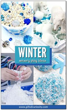 More than 20 ideas for engaging winter sensory play for your child. From sensory bins to no-mess sensory bags to fake snow recipes, these ideas will keep your child busy all winter long! #sensoryplay #winter #snow #giftofcuriosity #preschool #prek || Gift of Curiosity