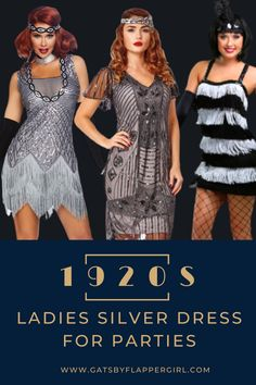 You will love all our stunning silver roaring 20s ladies dresses. Flapper, Great Gatsby Style & many more! Click Here to see them all Great Gatsby Dresses, Great Gatsby Fashion, Great Gatsby Party, Flapper Costume, Costume Dress, Gatsby Style, Ladies Dresses, Roaring 20s, Silver Dress