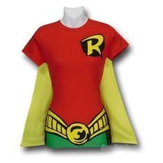 Robin Juniors Costume Caped T-Shirt ❤ liked on Polyvore featuring costumes, tops, lady halloween costumes, ladies costumes, lady costumes, ladies halloween costumes and womens costumes