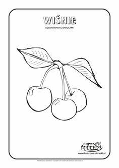 Kolorowanki dla dzieci - Rośliny / Wiśnie. Kolorowanka z wiśniami