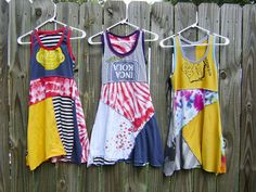 Look at these dresses made out of old t-shirts. I want to make them for the girls. Gotta get my craft/sewing corner set up STAT! (How To Make Dress Out Of Shirts) Shirt Dress Pattern, Tunic Pattern, Pattern Sewing, Recycled T Shirts, Old T Shirts, Tee Shirts, Diy Clothing, Sewing Clothes, Diy Dress