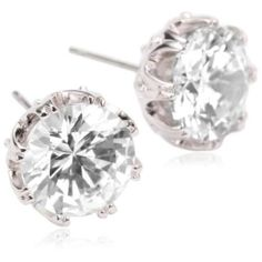 http://clothing33s.blogspot.com - clothing33s.blogs... - CZ by Kenneth Jay Lane Large Round Crown Set Stud Earrings
