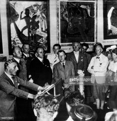 Adolf Ziegler speaking at the opening of the Nazicurated traveling exhibition 'Degenerate Art' at the Hofgarten Munich Germany 1937 Photographer...