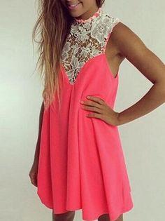 Pink+Sleeveless+Lace+Collar+Loose+Dress+9.90