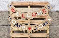 Welcome Home Burlap Banner, Patriotic Military Bunting Sign, Military Homecoming Garland Paper