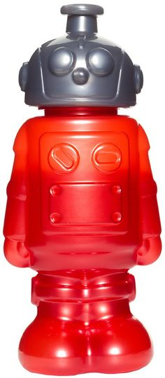 ROBOT WATER BOTTLE This water bottle has come from far far away to help you with your thirst! The friendly robot water bottle features a red robot body with gray twist top. $10.00.