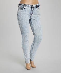 Another great find on #zulily! Light Acid Wash Mid-Rise Skinny Jeans - Plus by Eunina #zulilyfinds