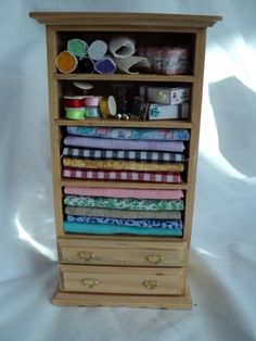 Dolls House Miniatures  - Sewing Cupboard.  via Etsy.