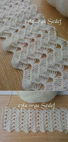 Ripple Stitch Broomstick Lace Sort Of, Very Nice For Shawls, Etc.: Photo From A Russian Site And Here Is A Turkish Video That Provides Good Demo Instruction Even If You Don't Understand What The Lady Says I Watched And Just Turned The Sound Off: Broomstick Lace Crochet, Hairpin Lace Crochet, Crochet Motifs, Crochet Stitches Patterns, Crochet Designs, Stitch Patterns, Knitting Patterns, Knit Crochet, Crochet Scarves
