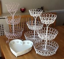 Decorative tiered baskets for yarn display - Shabby Chic Cake stands / Craft Fair Display & Heart Basket - Job Lot