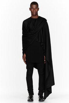 Thamanyah Black Fleece & Angora Ehram Cape for men