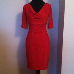 Prepare to be admired  This dress...secret admirers will soon reveal themselves! Elegant yet sassy and quite comfortable. Fully lined and weighted by a small tab to keep the cowl neck in place. 3/4 sleeves and light pick ups in the front. 95% Polyester/5% Elastine. Hand wash gentle cycle, hang to dry. Great for the holidays!  Ralph Lauren Dresses