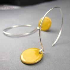 Enamel earrings sterling silver earring yellow enamel jewelry Dot
