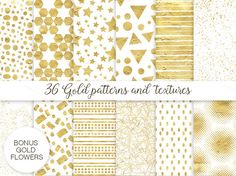 36 gold patterns and textures by Spasibenko Art on Creative Market