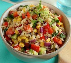 Zoldseges rizssalata_ Rabbit Food, Fruit Salad, Potato Salad, Food And Drink, Healthy Recipes, Healthy Food, Health Fitness, Menu, Vegan