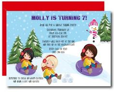 Girls Snow Tubing Invitation #girlsparty #invitations #printables Kids Birthday Party Invitations, Bday Girl, Warm Outfits, Order Prints, Thank You Cards, Card Stock, Snow, Colors, Products