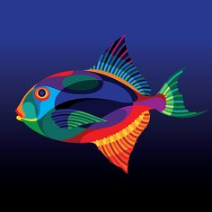 "From the ""Endangered Trooical Fish"" gallery by Matt W. Moore on Behance. Sports Graphic Design, Graphic Design Company, Colorful Fish, Tropical Fish, Laurel Burch, Endangered Fish, Fish Gallery, Sea Life Art, Ocean Life"