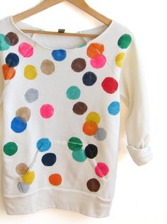 Great fabric print idea | Colorful confetti sweatshirt by twostringjane on etsy