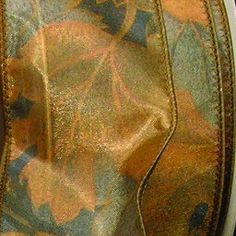 Sheer Olive Green Foliage Print Wired Craft Ribbon 2 x 40 Yards ** See this great product.