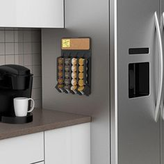 Generic 838981 Storage K Cup Coff K Cup Coffee Holder 20 KCups Fridge Organizer Tea Wall Mount Rack Pods Storage 20 KCups F *** You can find out more details at the link of the image. K Cup Storage, Coffee Pod Storage, Coffee Pod Holder, Coffee Pods, Snack Bar, Kitchen Pantry, Kitchen Decor, Kitchen Ideas, Kitchen Supplies