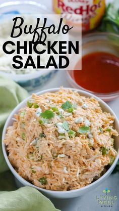 Buffalo Chicken Salad is a spicy, flavorful version of chicken salad. Made without mayo or dressing but has all the delicious flavors of Buffalo Chicken Dip Healthy Low Carb Recipes, Chicken Salad Recipes, Healthy Salad Recipes, Lunch Recipes, Fast Recipes, Mayonnaise, Low Carb Chicken Salad, Chicken Salad Without Mayo, Salad Chicken