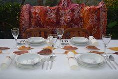 Decoração de mesa outonal