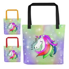 Unicorn Tote Bag, Unicorn Gift, Unicorn Bag, Unicorn Library Bag, Unicorn Carry All, Fabulous Unicorn Tote Bag, Choose Handle Color by UnicornGiftsFor on Etsy Library Bag, Pile Of Books, Unicorn Gifts, Unicorns, Handle, Tote Bag, Purple, Fabric, Prints