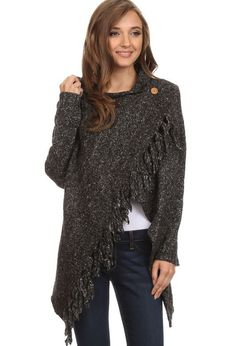 Fringed Shawl Sweater with Button - L&B - Charcoal