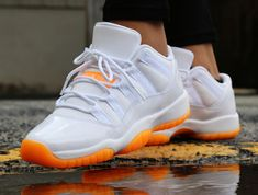 >>>Cheap Sale OFF! >>>Visit>> Classic Air Jordan 11 sneaker for kids featuring a white and orange citrus look for the summer months. Jordan Shoes Girls, Jordan Shoes Online, Cheap Jordan Shoes, Air Jordan Shoes, Girls Shoes, Cute Sneakers, Sneakers Mode, Kids Sneakers, Sneakers Fashion