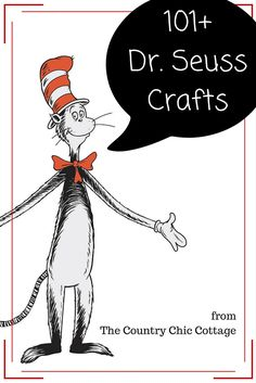 Get over 101 Dr. Seuss crafts all in one place! Such a great way to celebrate Read Across America Day! Get over 101 Dr. Seuss crafts all in one place! Such a great way to celebrate Read Across America Day! Projects For Kids, Diy For Kids, Crafts For Kids, Diy Projects, Edible Crafts, Fun Crafts, Arts And Crafts, Paper Crafts, Dr Seuss Crafts