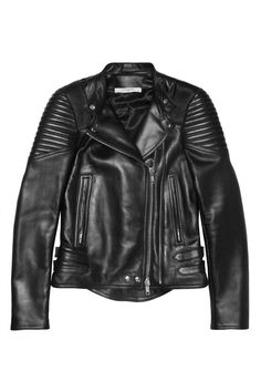 Givenchy – Black leather biker jacket with ribbed panels