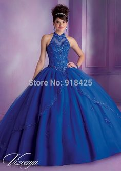 >> Click to Buy << Custom Size Beaded Halter Ball Gown Royal Blue Quinceanera Dresses Vestidos 15 Anos MN091 #Affiliate