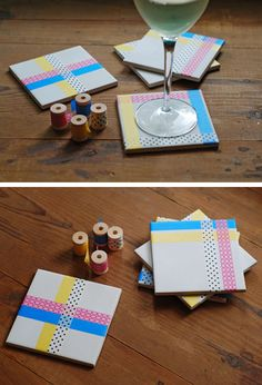 Washi Tape coaster-- possibly this or other coasters?  Do kids even know what coasters are these days?