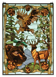 Features:  -Mounting bracket and chain are included.  -Rustic Lodge collection.  -Majestic bronze eagle soars above a brown bear and deer.  -Stained art glass encased in a solid brass frame.  -Handsom