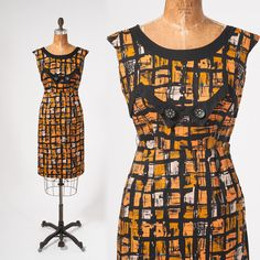 Vintage 1950s Dress Orange & Black Abstract Cotton Print Mid Century Wiggle Dress