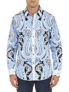Robert Graham Men's Fiordland-Long Sleeve Woven Shirt An engineered paisley print defines this essential piece of your wardrobe. Mens Button Up, Button Up Shirts, Front Button, Mens Printed Shirts, Robert Graham, Paisley Design, Sports Shirts, Stylish Men, Shirt Dress
