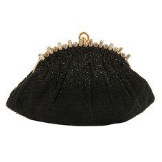 Vintage Black Beaded Josef Evening Bag with Rhinestone Frame
