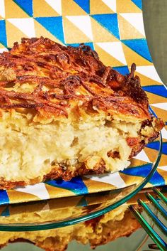 Take a healthy hashbrown, plump it up with more potatoes, a few eggs, and slowly bake it for a couple hours and you'll get this potato kugel Its crunchy top gives way to a super-soft, almost mashed-potato center, and the soft aroma of onion will fill your kitchen.